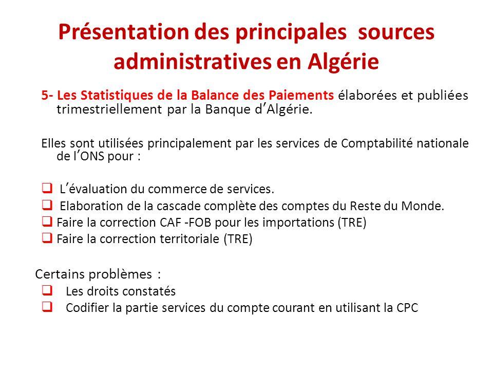 Présentation des principales sources administratives en Algérie 5- Les Statistiques de la Balance des Paiements élaborées et publiées trimestriellemen