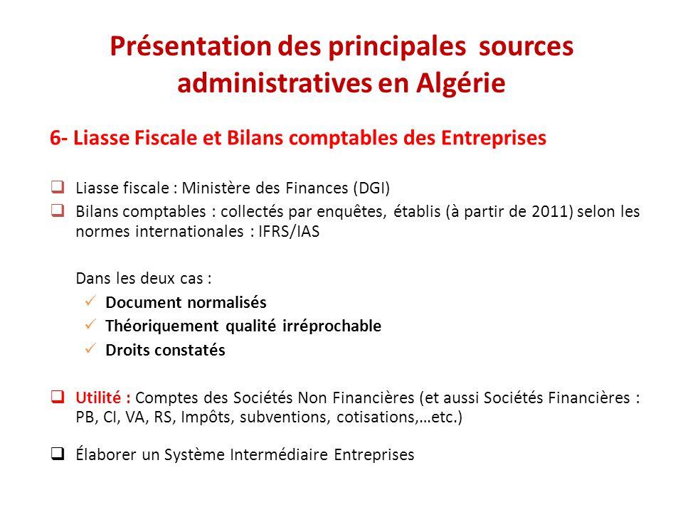 Présentation des principales sources administratives en Algérie 6- Liasse Fiscale et Bilans comptables des Entreprises  Liasse fiscale : Ministère de
