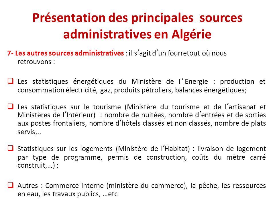 Présentation des principales sources administratives en Algérie 7- Les autres sources administratives : il s'agit d'un fourretout où nous retrouvons :