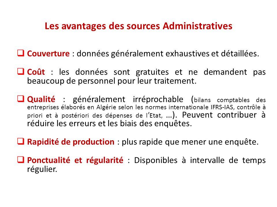 Les avantages des sources Administratives  Couverture : données généralement exhaustives et détaillées.  Coût : les données sont gratuites et ne dem