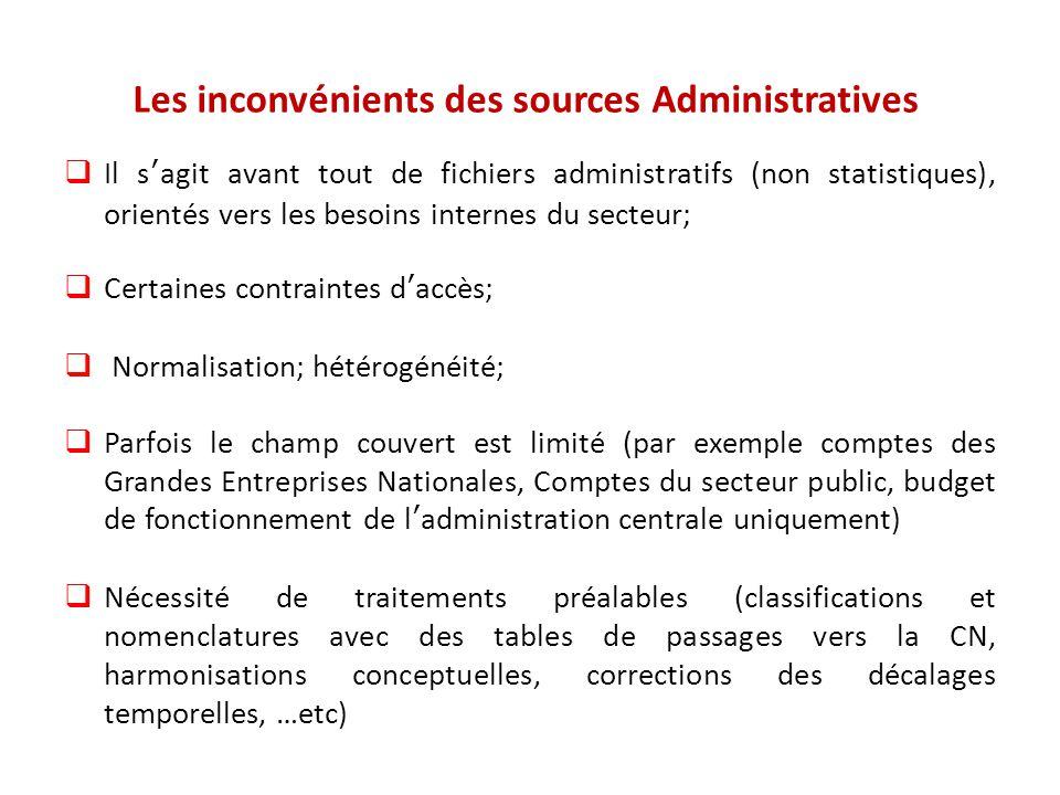Les inconvénients des sources Administratives  Il s'agit avant tout de fichiers administratifs (non statistiques), orientés vers les besoins internes