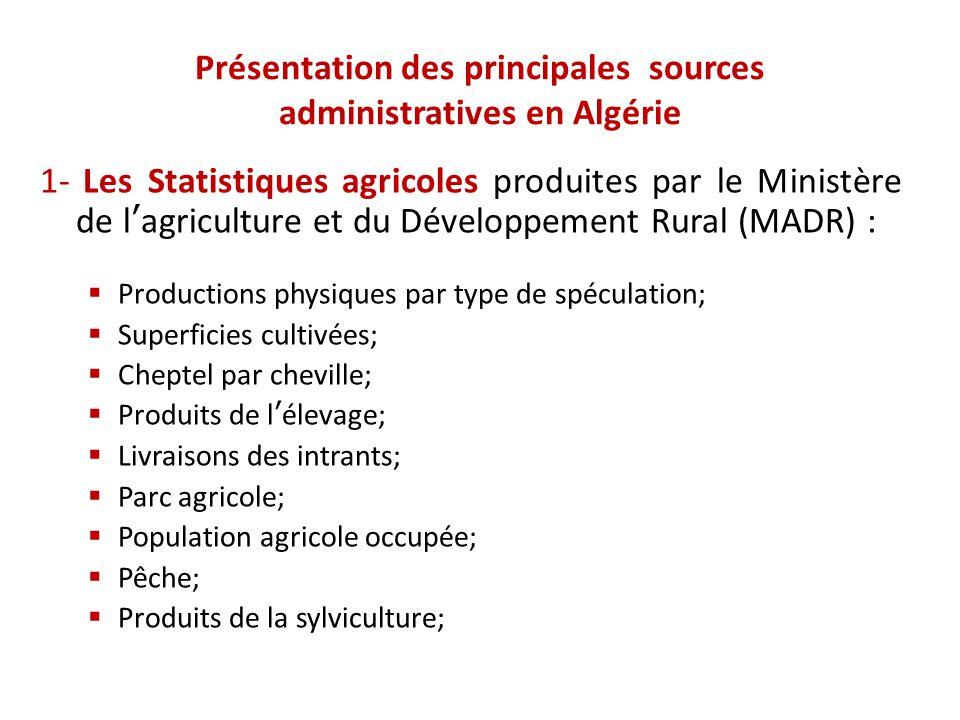 Présentation des principales sources administratives en Algérie 1- Les Statistiques agricoles produites par le Ministère de l'agriculture et du Dévelo