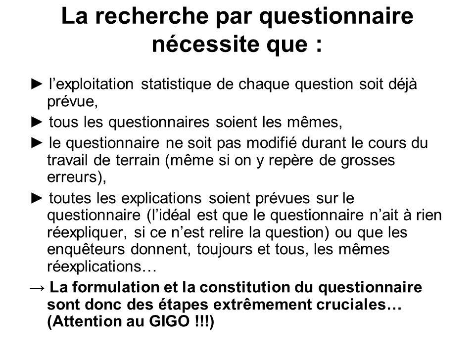 Questions de fait En principe, on pourrait les saisir autrement que par questionnaire.