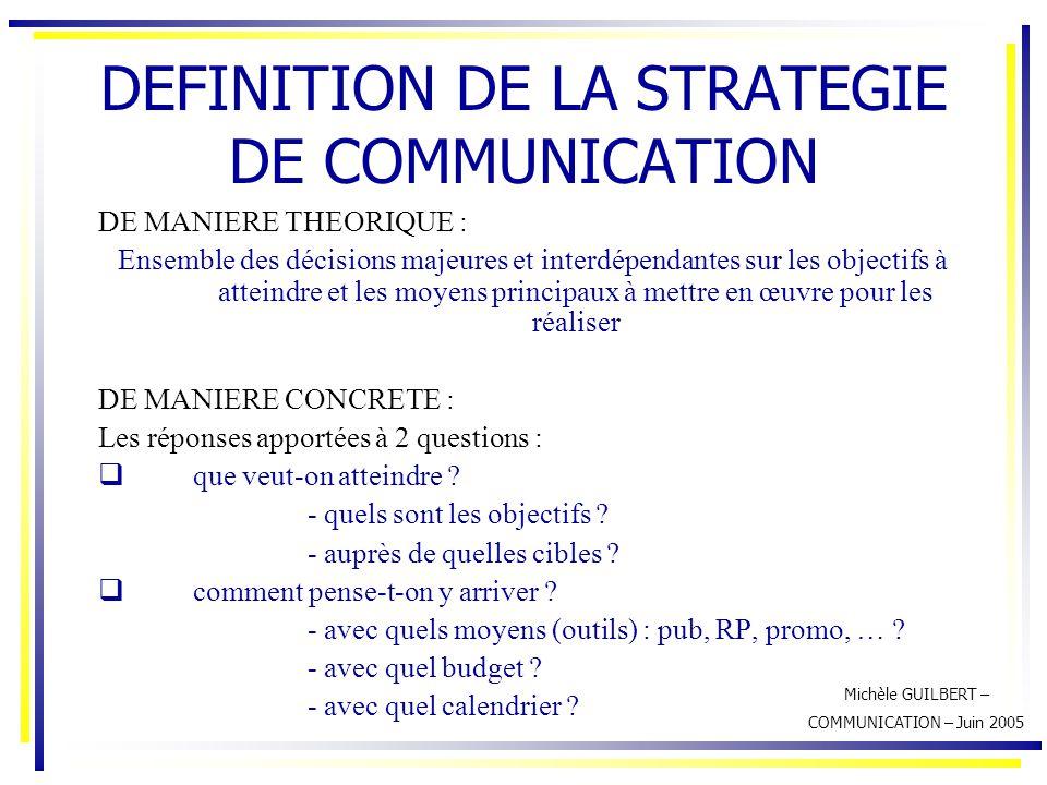Michèle GUILBERT – COMMUNICATION – Juin 2005 DEFINITION DE LA STRATEGIE DE COMMUNICATION DE MANIERE THEORIQUE : Ensemble des décisions majeures et int