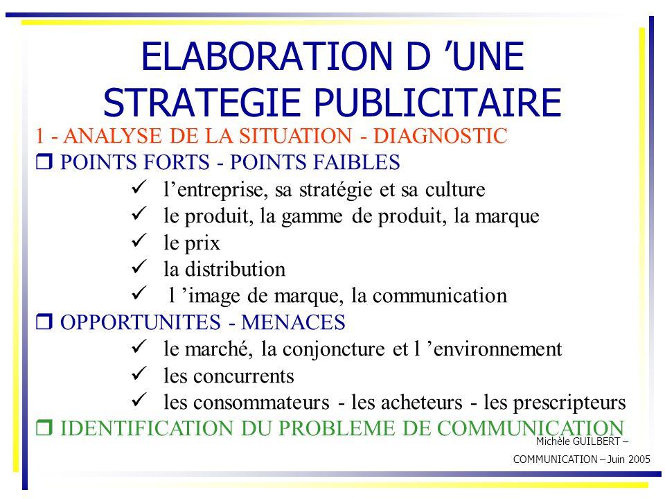 Michèle GUILBERT – COMMUNICATION – Juin 2005 ELABORATION D 'UNE STRATEGIE PUBLICITAIRE 1 - ANALYSE DE LA SITUATION - DIAGNOSTIC  POINTS FORTS - POINT
