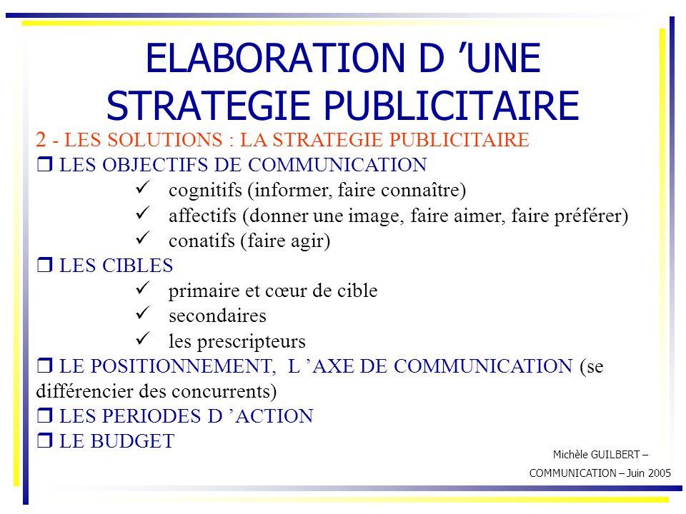 Michèle GUILBERT – COMMUNICATION – Juin 2005 ELABORATION D 'UNE STRATEGIE PUBLICITAIRE 2 - LES SOLUTIONS : LA STRATEGIE PUBLICITAIRE  LES OBJECTIFS D