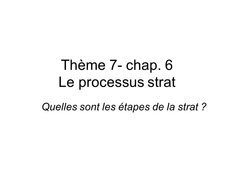 Thème 7- chap. 6 Le processus strat Quelles sont les étapes de la strat ?