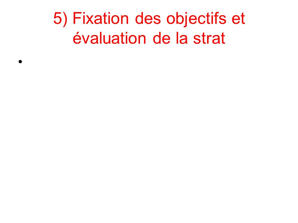 5) Fixation des objectifs et évaluation de la strat