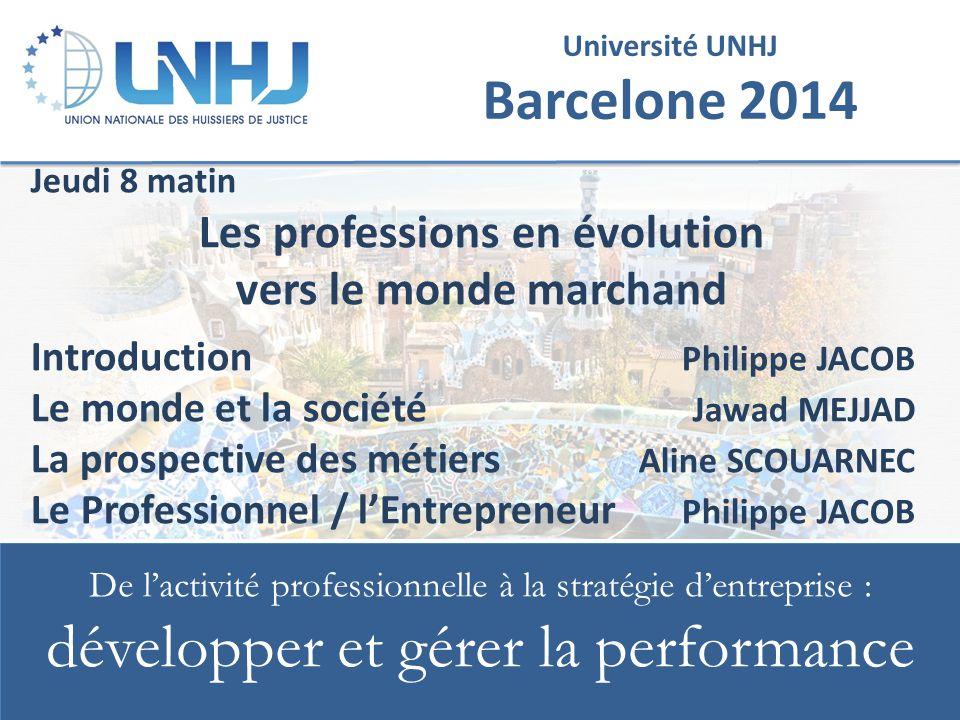 De l'activité professionnelle à la stratégie d'entreprise : développer et gérer la performance 42 UNIVERSITE UNHJ - Barcelone 2014 Prospective des métiers