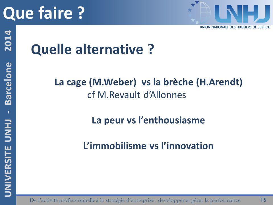 De l'activité professionnelle à la stratégie d'entreprise : développer et gérer la performance 15 UNIVERSITE UNHJ - Barcelone 2014 Que faire .