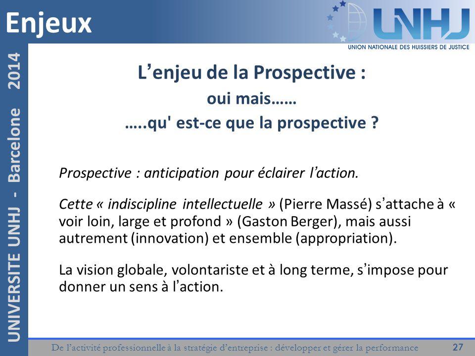 De l'activité professionnelle à la stratégie d'entreprise : développer et gérer la performance 27 UNIVERSITE UNHJ - Barcelone 2014 L'enjeu de la Prospective : oui mais…… …..qu est-ce que la prospective .
