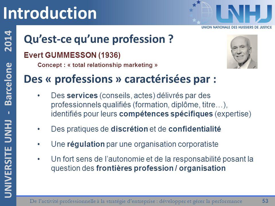 De l'activité professionnelle à la stratégie d'entreprise : développer et gérer la performance 53 UNIVERSITE UNHJ - Barcelone 2014 Introduction Qu'est-ce qu'une profession .