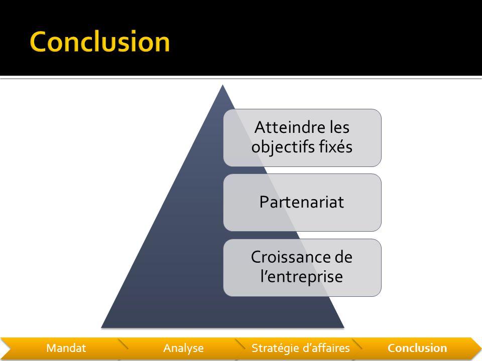 Atteindre les objectifs fixés Partenariat Croissance de l'entreprise MandatAnalyseStratégie d'affairesConclusion