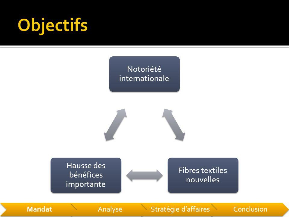 Notoriété internationale Fibres textiles nouvelles Hausse des bénéfices importante MandatAnalyseStratégie d'affairesConclusion