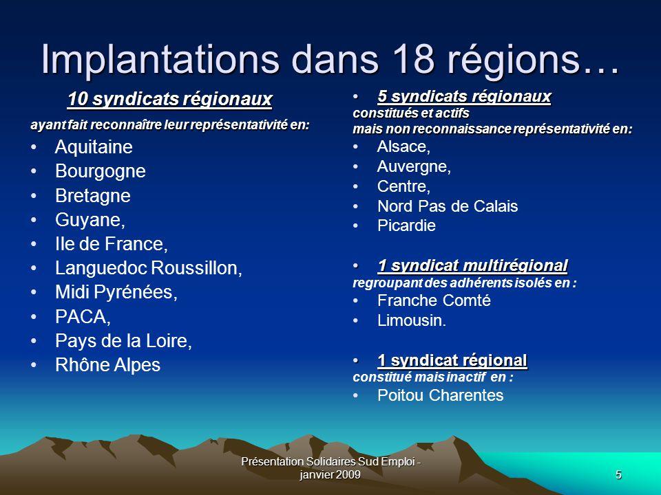 Présentation Solidaires Sud Emploi - janvier 20095 Implantations dans 18 régions… 10 syndicats régionaux ayant fait reconnaître leur représentativité