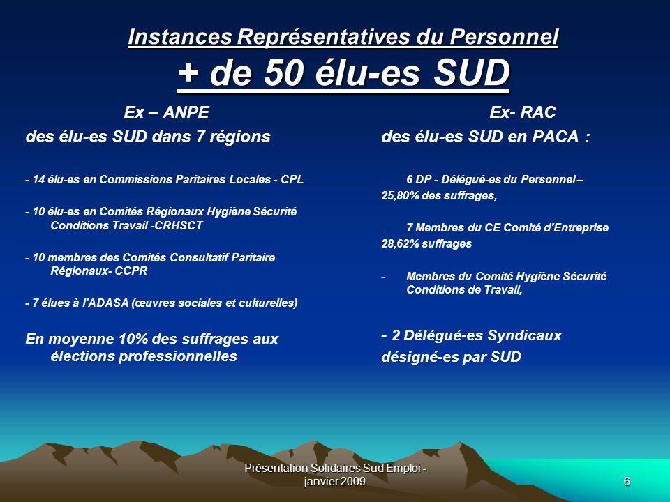 Présentation Solidaires Sud Emploi - janvier 20096 Ex – ANPE des élu-es SUD dans 7 régions - 14 élu-es en Commissions Paritaires Locales - CPL - 10 él