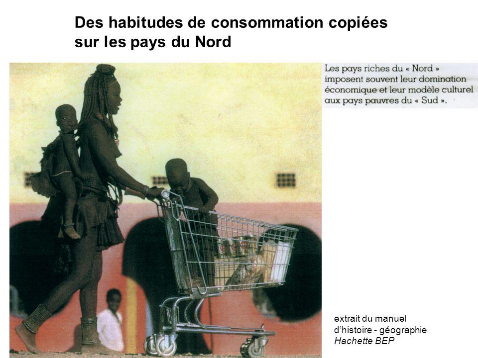 Des habitudes de consommation copiées sur les pays du Nord extrait du manuel d'histoire - géographie Hachette BEP