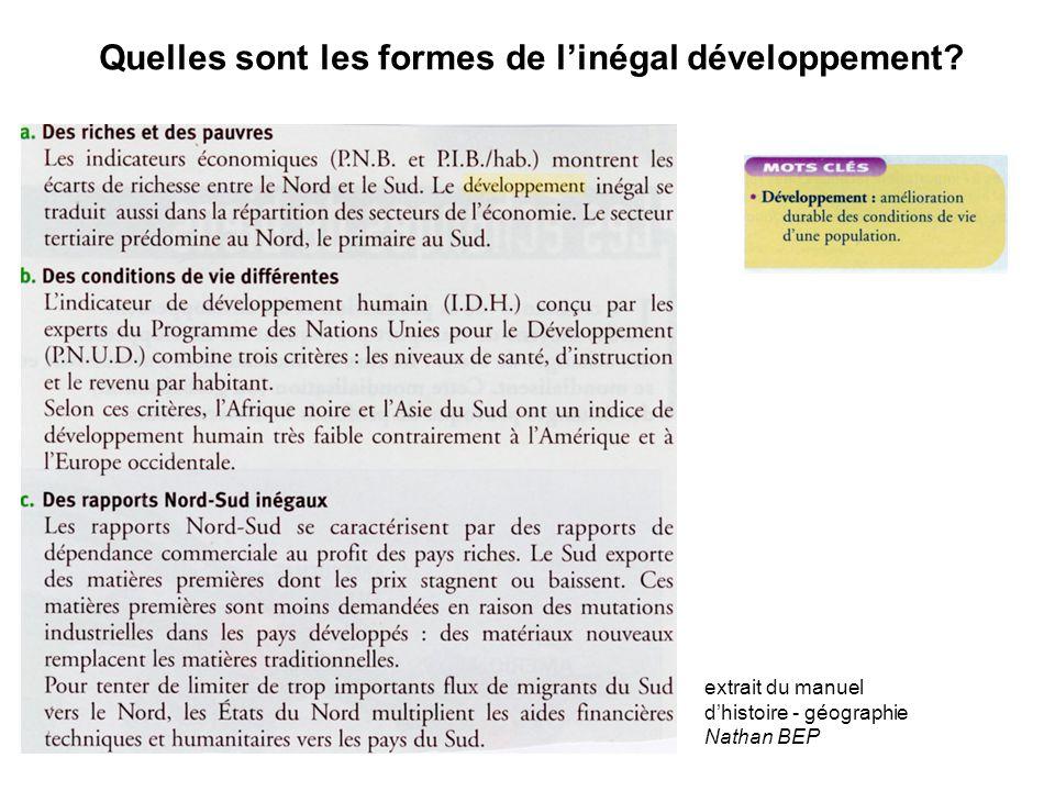 Quelles sont les formes de l'inégal développement? extrait du manuel d'histoire - géographie Nathan BEP