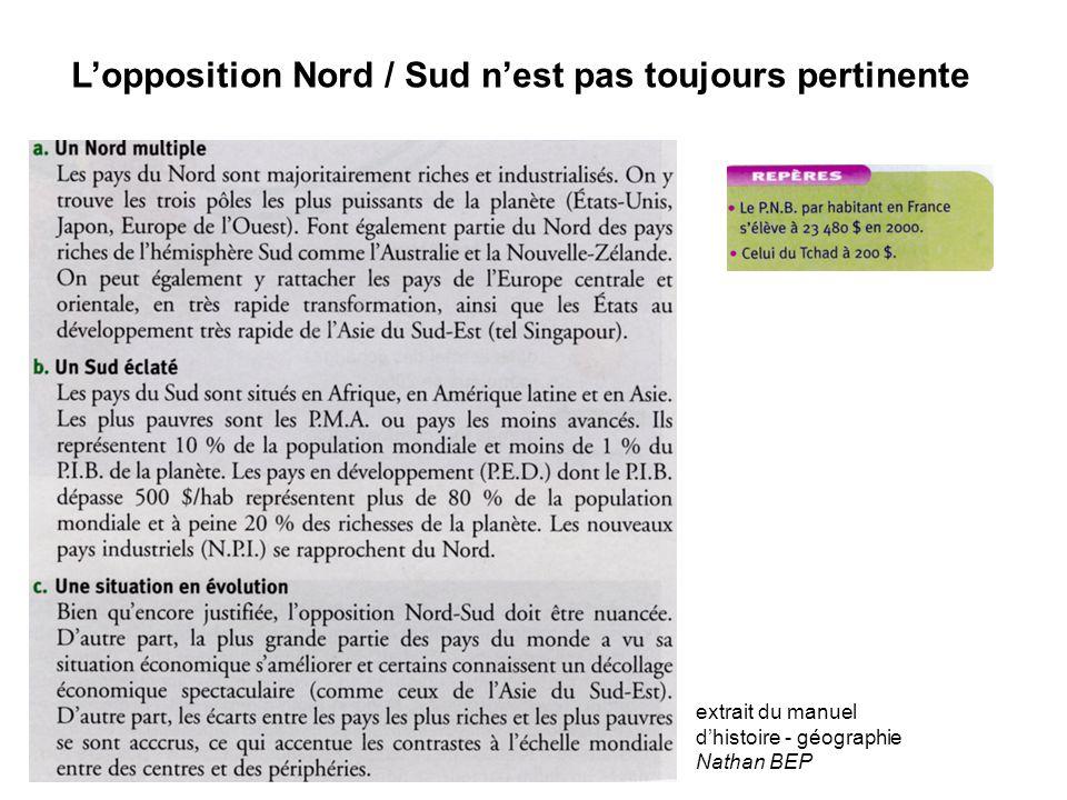 L'opposition Nord / Sud n'est pas toujours pertinente extrait du manuel d'histoire - géographie Nathan BEP