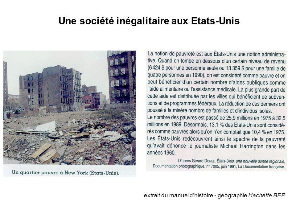 Une société inégalitaire aux Etats-Unis extrait du manuel d'histoire - géographie Hachette BEP