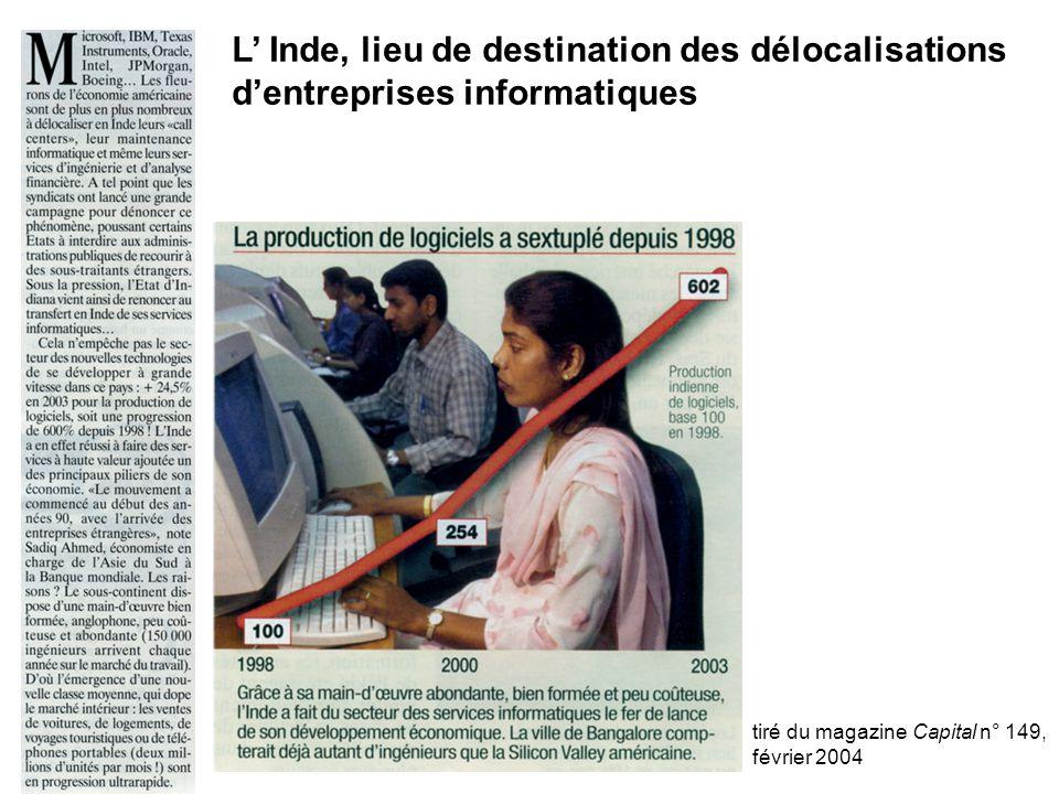 L' Inde, lieu de destination des délocalisations d'entreprises informatiques tiré du magazine Capital n° 149, février 2004