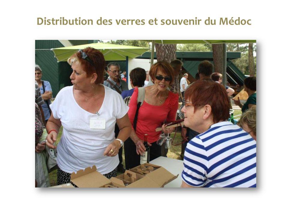 Distribution des verres et souvenir du Médoc