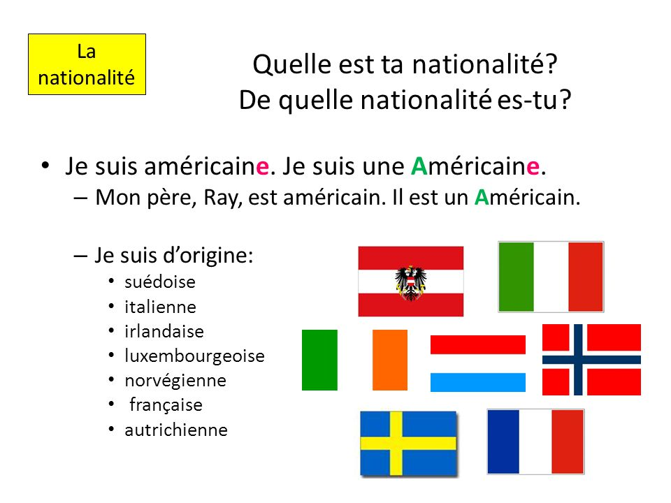 Quelle est ta nationalité? De quelle nationalité es-tu? Je suis américaine. Je suis une Américaine. – Mon père, Ray, est américain. Il est un Américai
