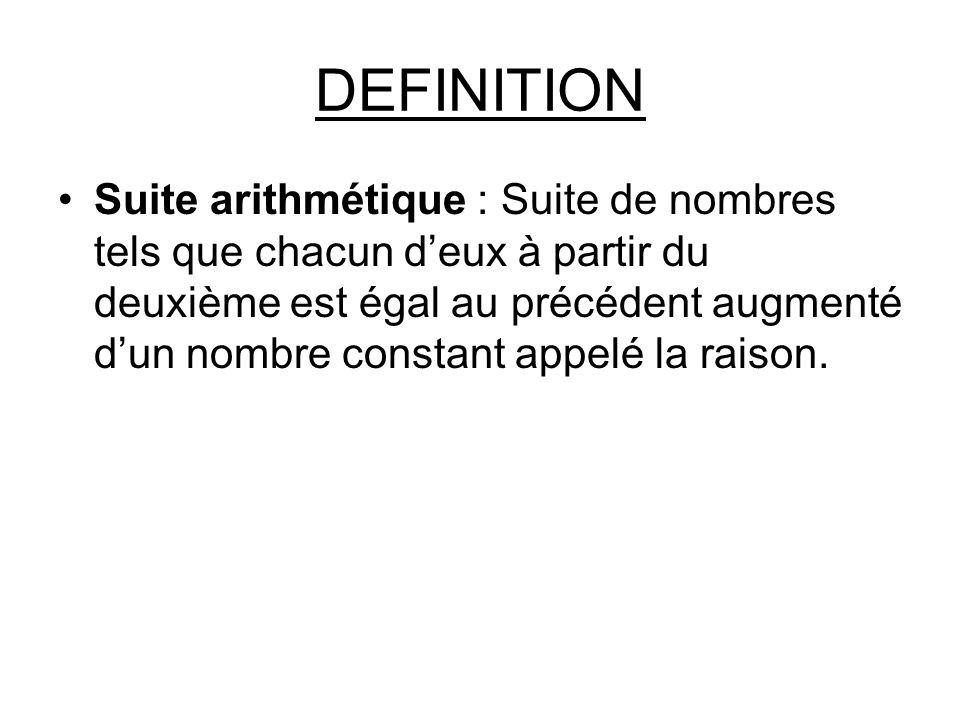 DEFINITION Suite arithmétique : Suite de nombres tels que chacun d'eux à partir du deuxième est égal au précédent augmenté d'un nombre constant appelé