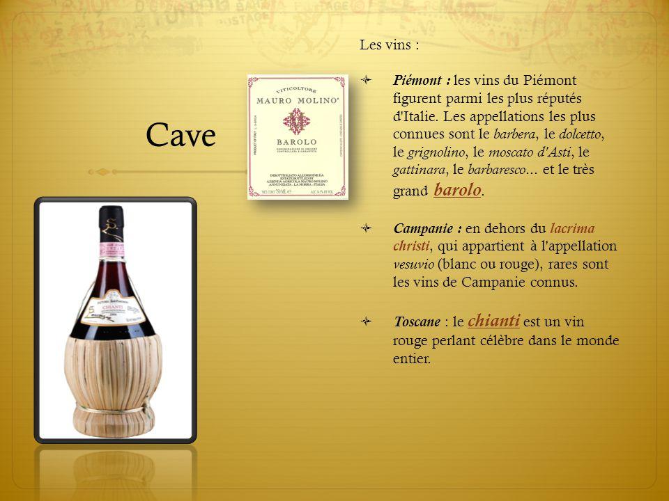 Cave Les vins :  Piémont : les vins du Piémont figurent parmi les plus réputés d'Italie. Les appellations les plus connues sont le barbera, le dolcet