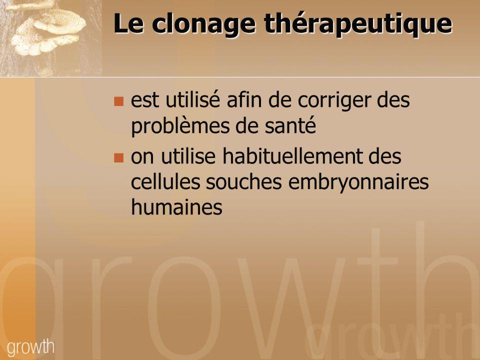 Le clonage thérapeutique est utilisé afin de corriger des problèmes de santé on utilise habituellement des cellules souches embryonnaires humaines