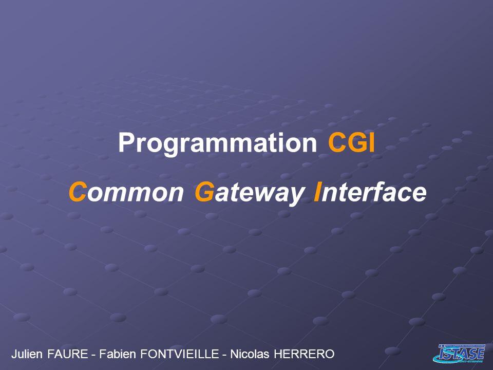 Programmation CGI Common Gateway Interface Julien FAURE - Fabien FONTVIEILLE - Nicolas HERRERO