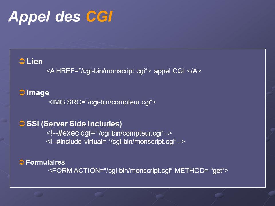 Appel des CGI  Lien appel CGI  Image  SSI (Server Side Includes)  Formulaires