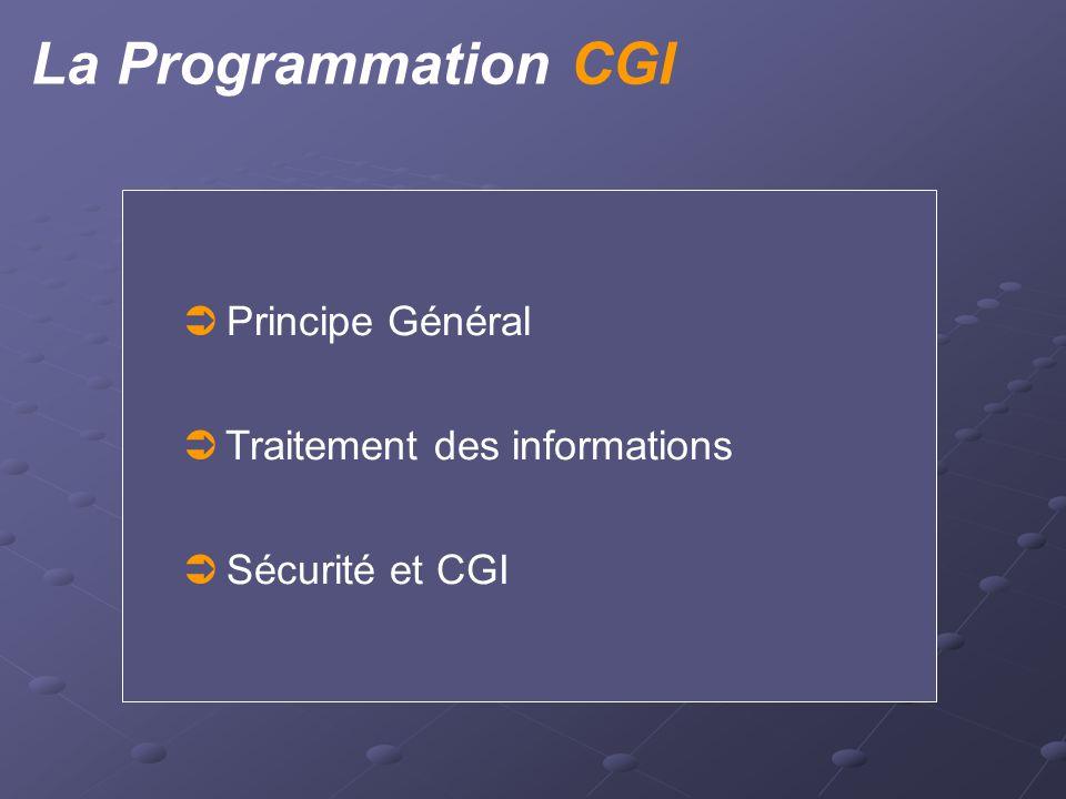 La Programmation CGI  Principe Général  Traitement des informations  Sécurité et CGI