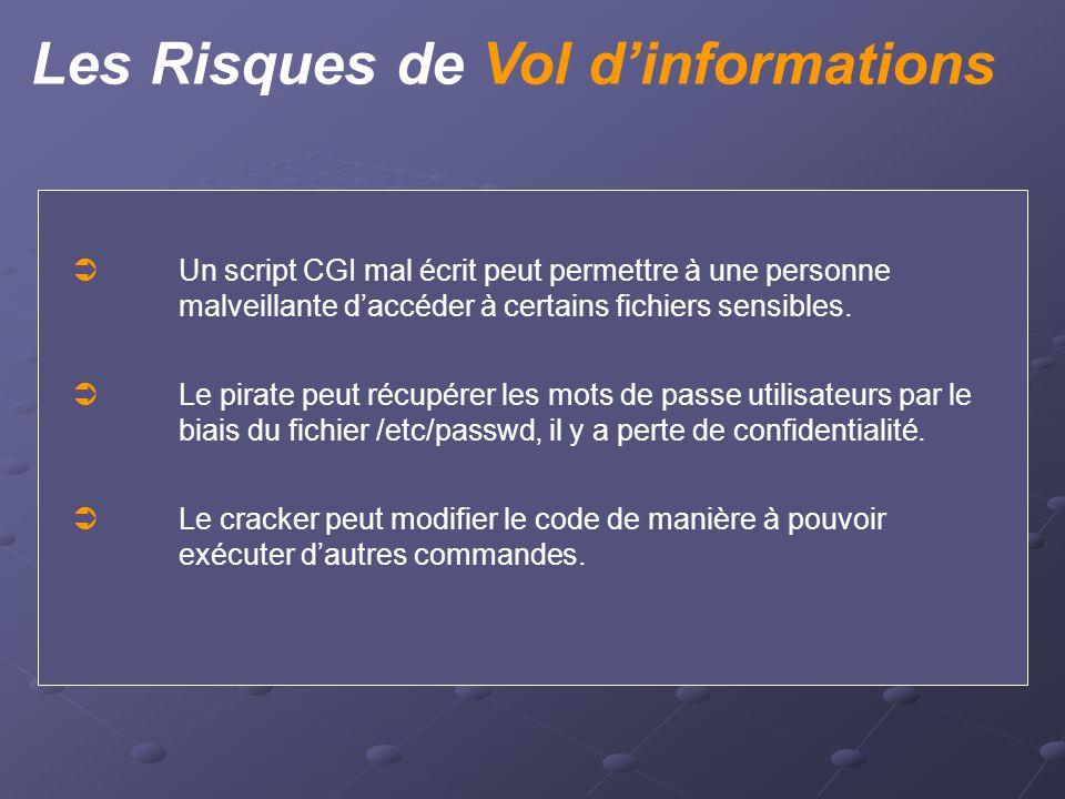 Les Risques de Vol d'informations  Un script CGI mal écrit peut permettre à une personne malveillante d'accéder à certains fichiers sensibles.  Le p