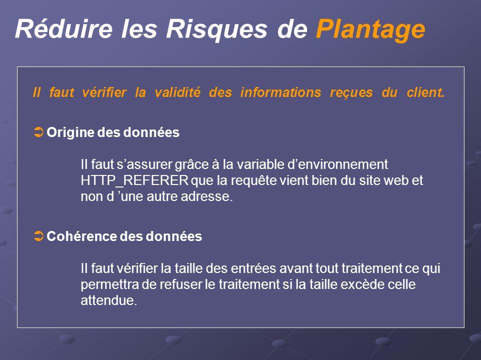 Réduire les Risques de Plantage Il faut vérifier la validité des informations reçues du client.  Origine des données Il faut s'assurer grâce à la var