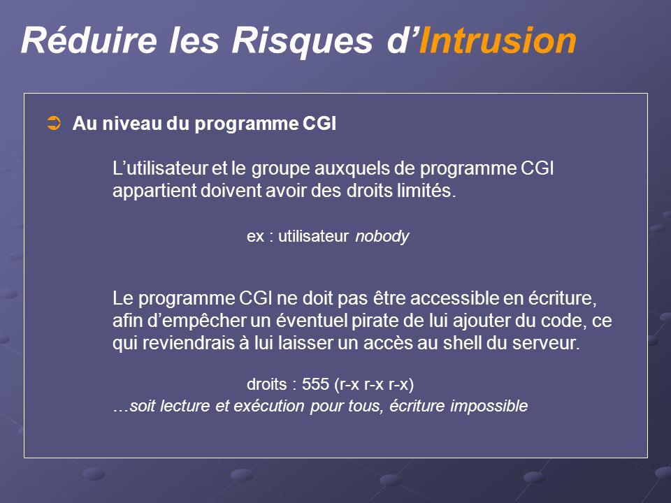 Réduire les Risques d'Intrusion  Au niveau du programme CGI L'utilisateur et le groupe auxquels de programme CGI appartient doivent avoir des droits