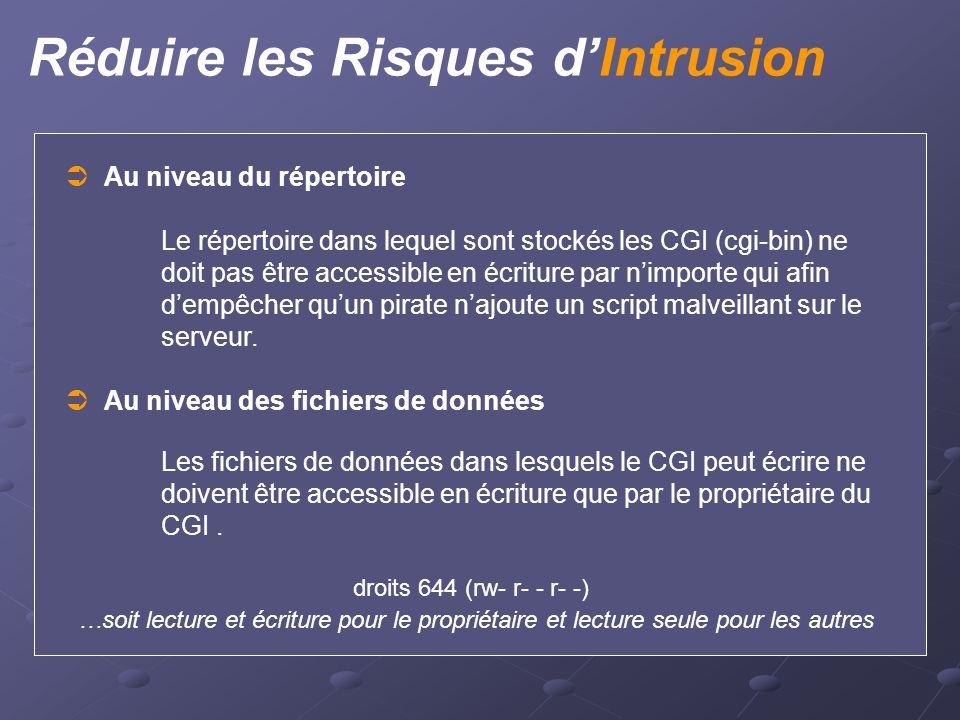 Réduire les Risques d'Intrusion  Au niveau du répertoire Le répertoire dans lequel sont stockés les CGI (cgi-bin) ne doit pas être accessible en écri