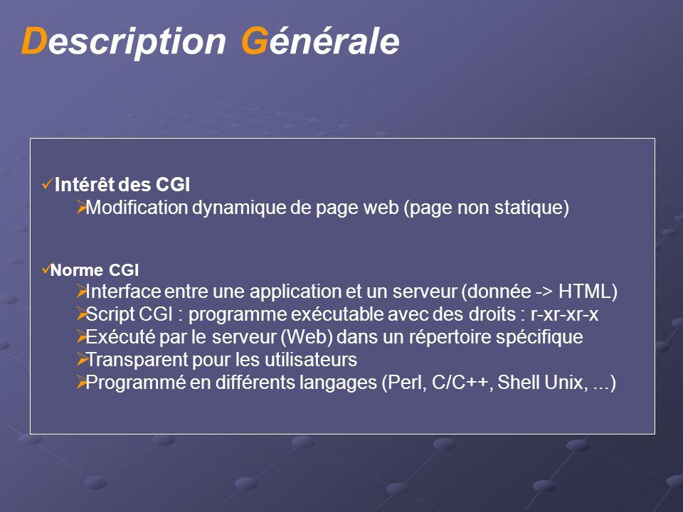 Intérêt des CGI  Modification dynamique de page web (page non statique) Norme CGI  Interface entre une application et un serveur (donnée -> HTML) 