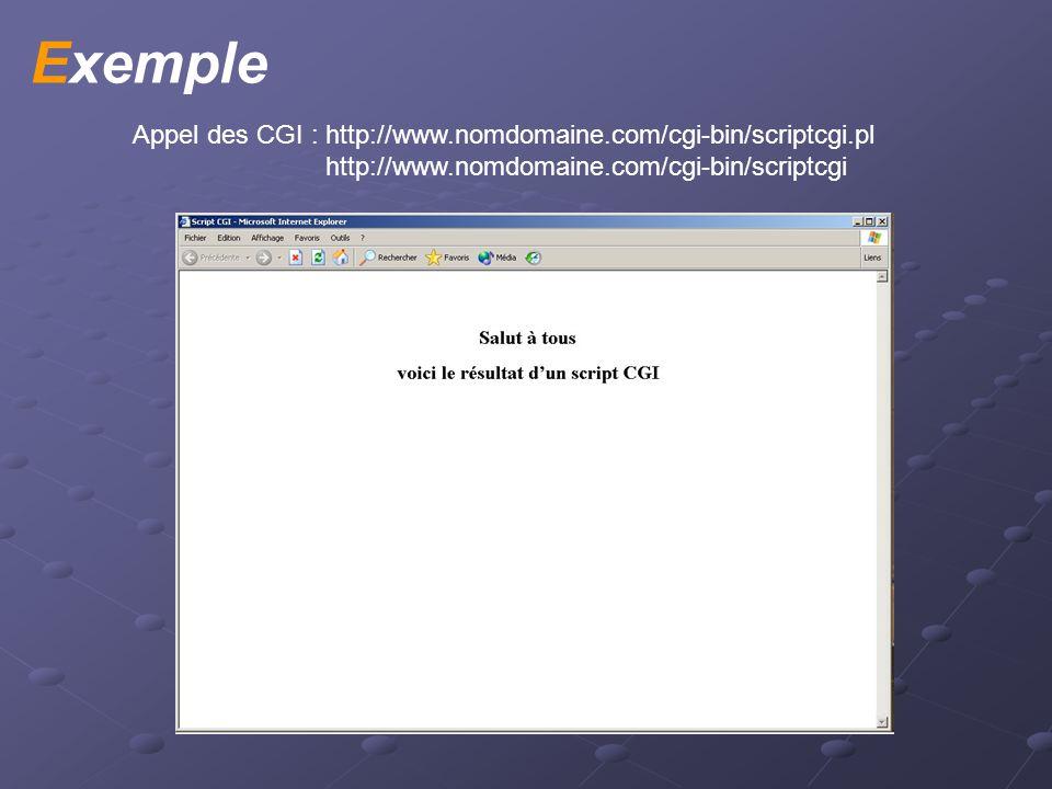 Exemple Appel des CGI : http://www.nomdomaine.com/cgi-bin/scriptcgi.pl http://www.nomdomaine.com/cgi-bin/scriptcgi