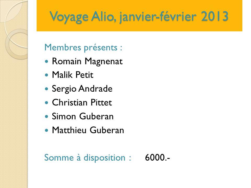 Voyage Alio, janvier-février 2013 Membres présents : Romain Magnenat Malik Petit Sergio Andrade Christian Pittet Simon Guberan Matthieu Guberan Somme