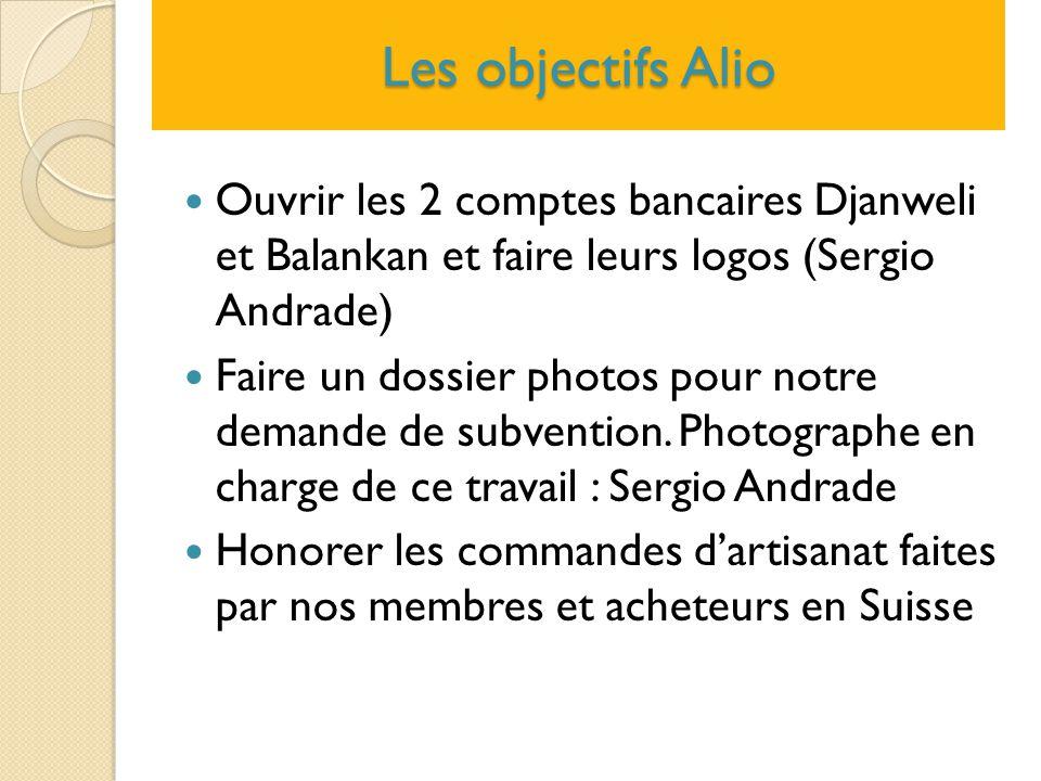 Les objectifs Alio Ouvrir les 2 comptes bancaires Djanweli et Balankan et faire leurs logos (Sergio Andrade) Faire un dossier photos pour notre demand