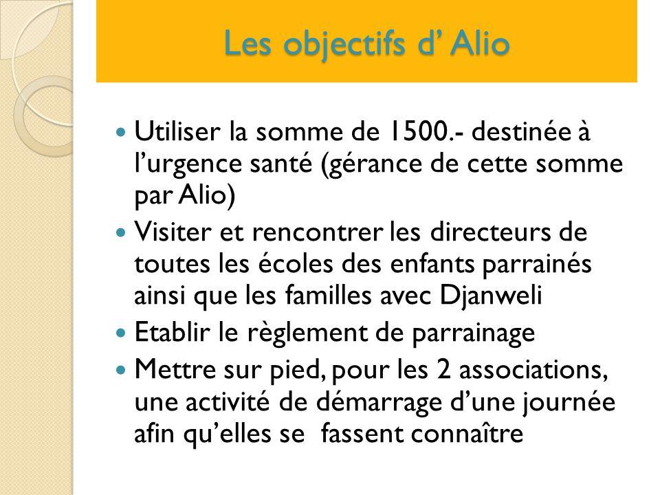 Les objectifs d' Alio Utiliser la somme de 1500.- destinée à l'urgence santé (gérance de cette somme par Alio) Visiter et rencontrer les directeurs de
