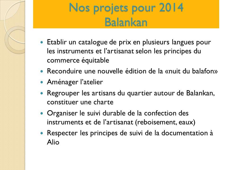 Nos projets pour 2014 Balankan Etablir un catalogue de prix en plusieurs langues pour les instruments et l'artisanat selon les principes du commerce é