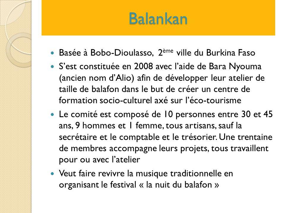 Balankan Basée à Bobo-Dioulasso, 2 ème ville du Burkina Faso S'est constituée en 2008 avec l'aide de Bara Nyouma (ancien nom d'Alio) afin de développe