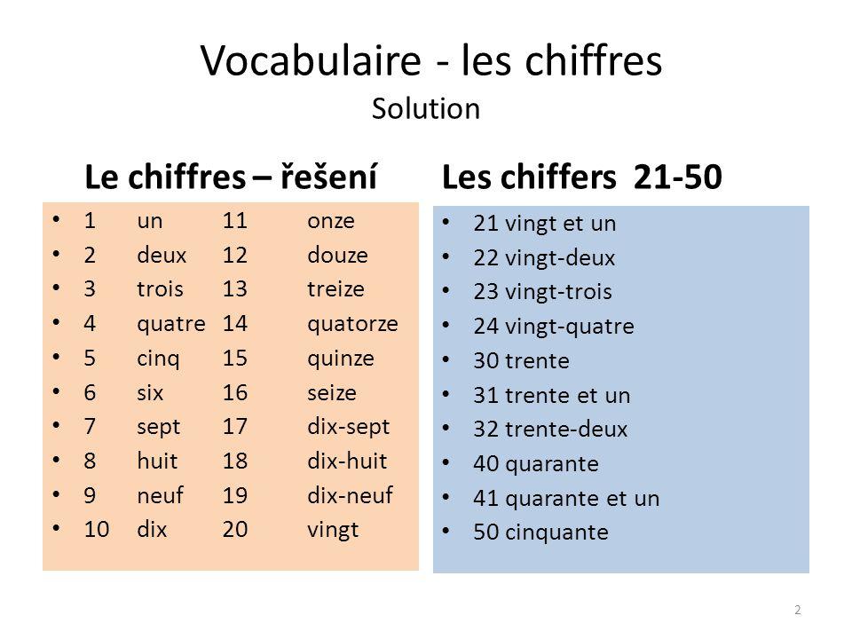 Vocabulaire - les chiffres Solution Le chiffres – řešení 1un11onze 2deux12douze 3trois13treize 4quatre14quatorze 5cinq15quinze 6six16seize 7sept17dix-