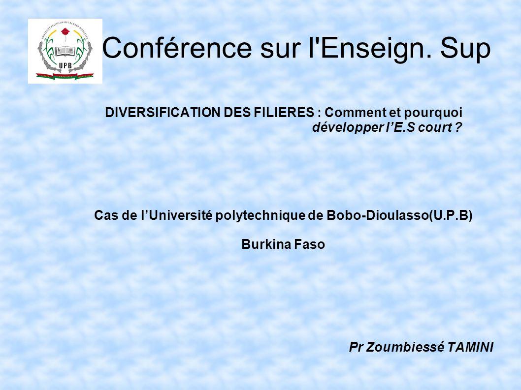 Conférence sur l'Enseign. Sup DIVERSIFICATION DES FILIERES : Comment et pourquoi développer l'E.S court ? Cas de l'Université polytechnique de Bobo-Di