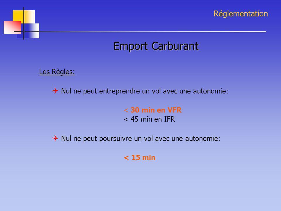 Réglementation Emport Carburant Les Règles:  Nul ne peut entreprendre un vol avec une autonomie: < 30 min en VFR < 45 min en IFR  Nul ne peut poursu