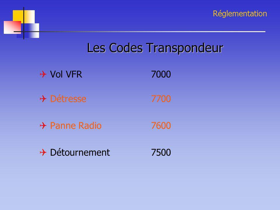 Réglementation Les Codes Transpondeur  Vol VFR7000  Détresse7700  Panne Radio7600  Détournement7500