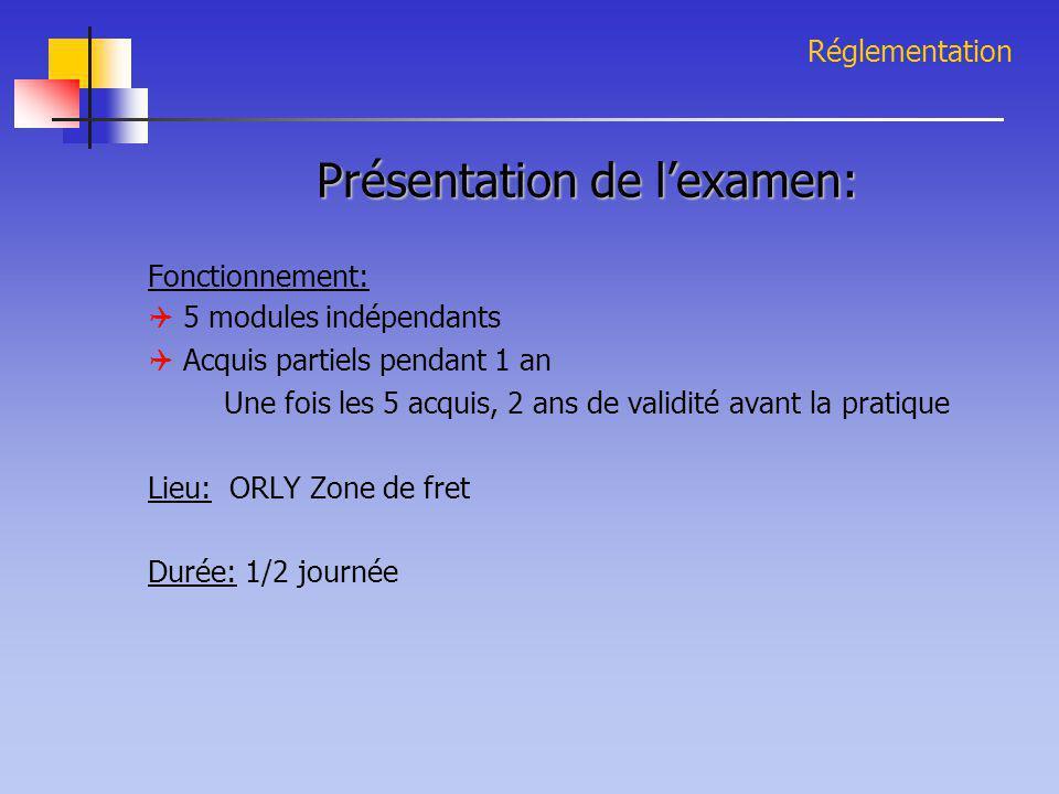 Réglementation Présentation de l'examen: Fonctionnement:  5 modules indépendants  Acquis partiels pendant 1 an Une fois les 5 acquis, 2 ans de valid