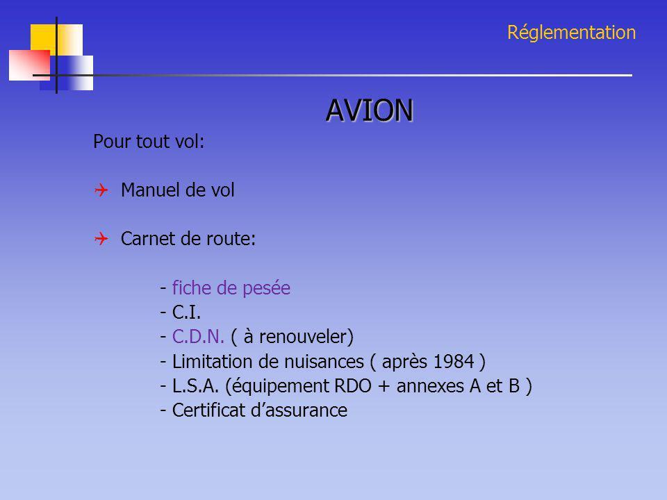 Réglementation AVION Pour tout vol:  Manuel de vol  Carnet de route: - fiche de pesée - C.I. - C.D.N. ( à renouveler) - Limitation de nuisances ( ap